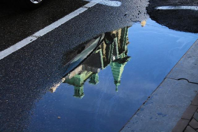 Road puddle church, transportation traffic.