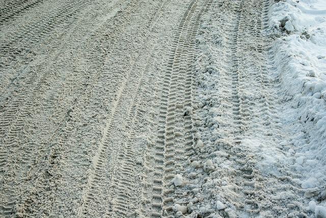 Road snow tire tracks, transportation traffic.