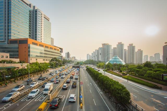 Road street seoul, transportation traffic.