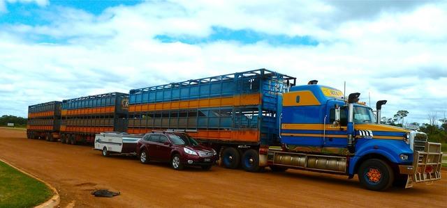 Road train truck transportation, transportation traffic.