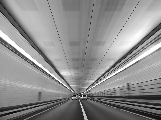 Road tunnel cars, transportation traffic.