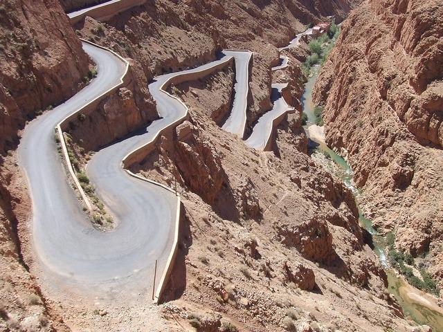 Road turn desert, transportation traffic.