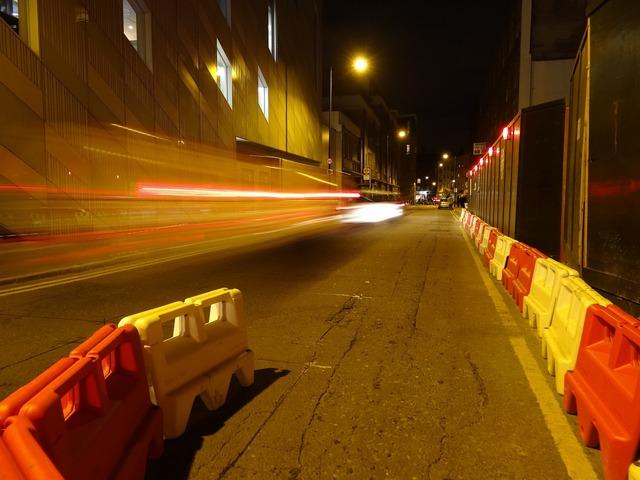 Road works london street, transportation traffic.