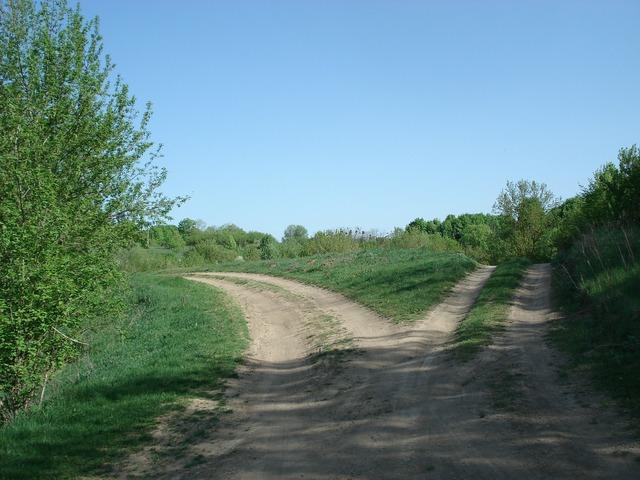 Roads split fork.