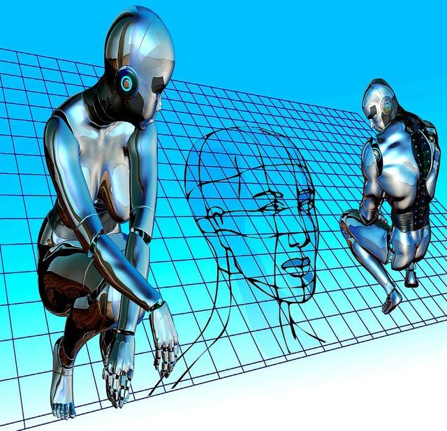 Robots cyborgs digital, science technology.