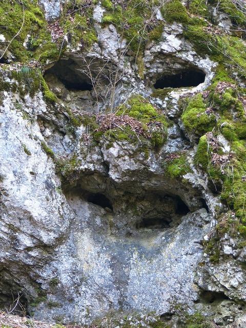 Rock cave face.