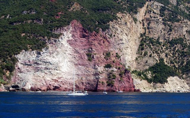 Rock color sea, nature landscapes.
