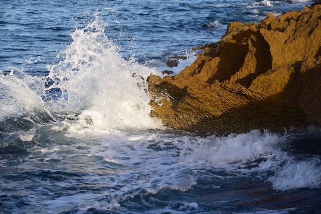 Rock sea water, nature landscapes.