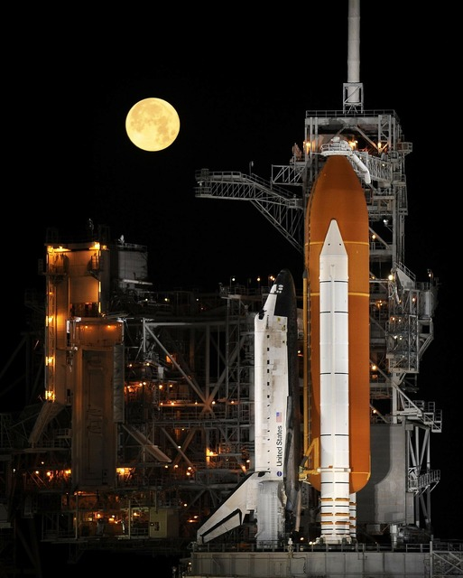 Rocket launch night space shuttle, science technology.