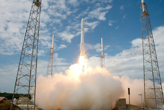 Rocket launch spacex lift-off, transportation traffic.