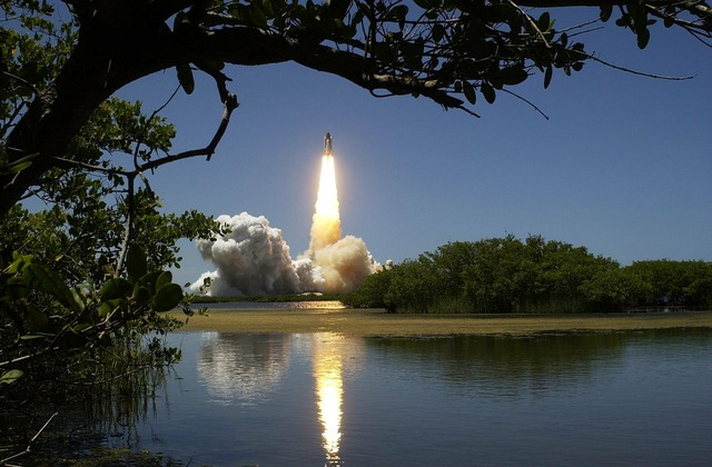 Rocket lift-off liftoff, science technology.