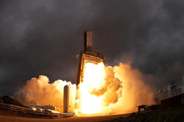 Rocket motor test engine test explosion.