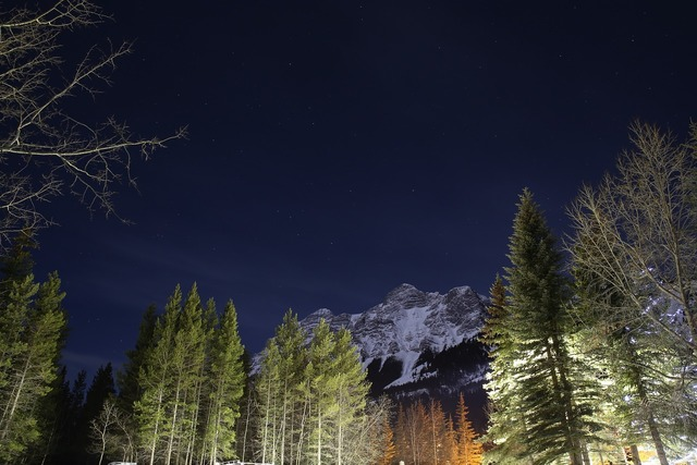 Rockies snow the night sky, nature landscapes.