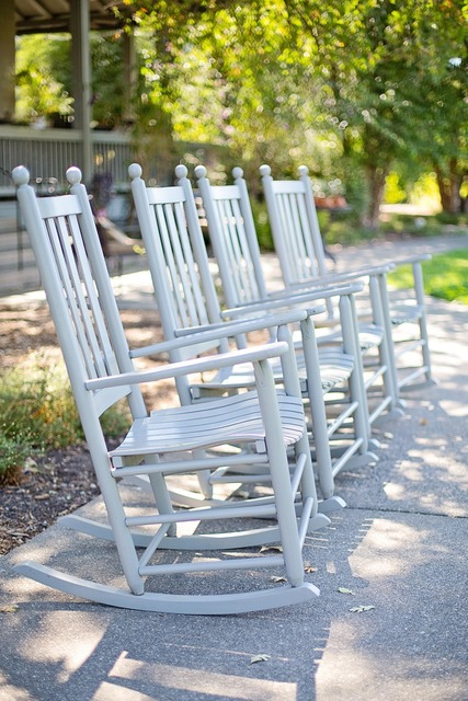 Rocking chairs white chairs.