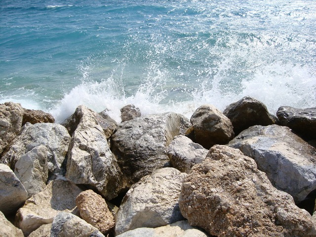 Rocks sea wave, travel vacation.
