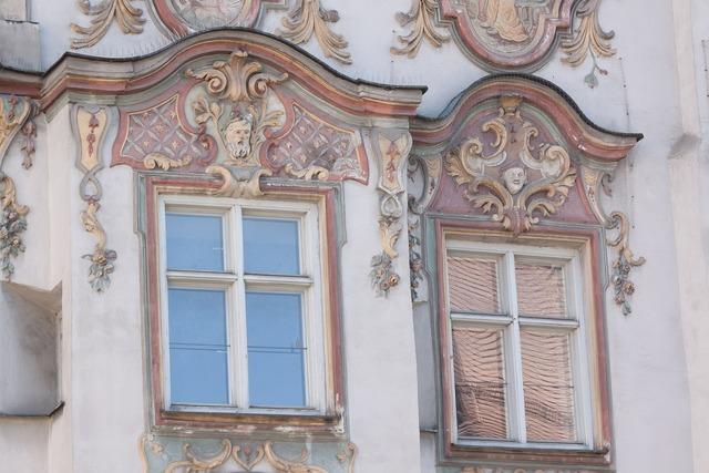 Rococo facade style, architecture buildings.