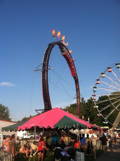 Roller coaster carnival fair.
