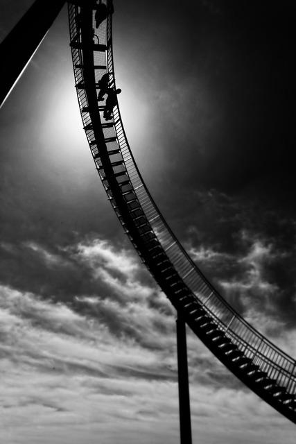 Rollercoaster rail amusement.