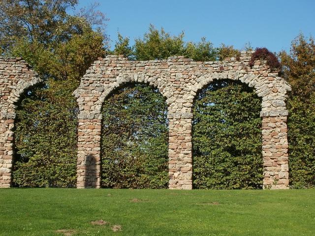 Roman aqueduct schwetzingen, architecture buildings.
