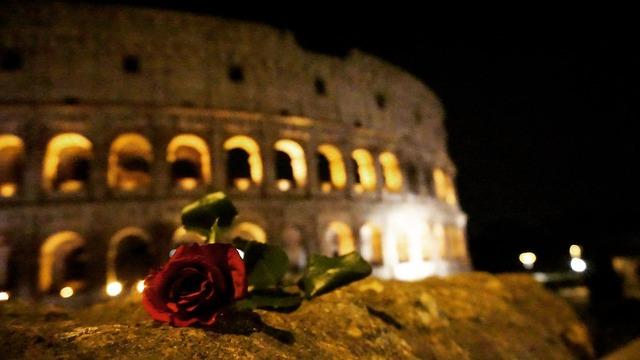 Rome colosseum rose.