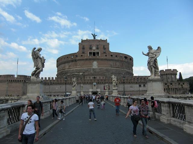 Rome italy bridge, architecture buildings.