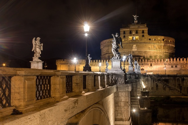 Rome night italy, architecture buildings.