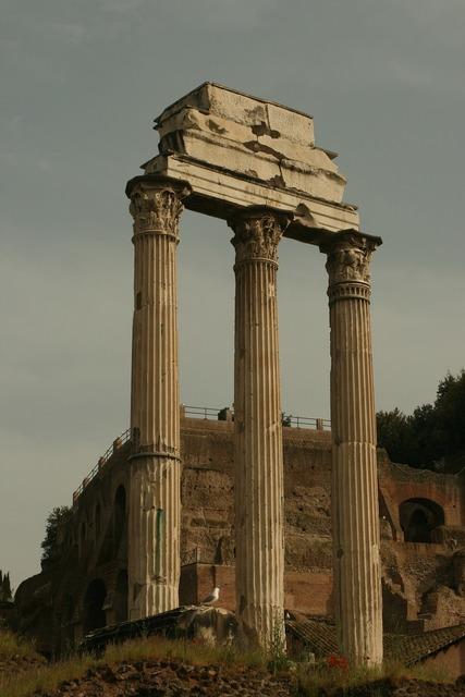 Rome pillars ruins, architecture buildings.