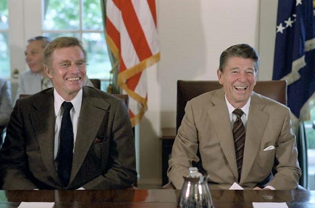 Ronald reagan charlton heston 40th president.