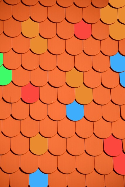 Roof brick colorful, architecture buildings.
