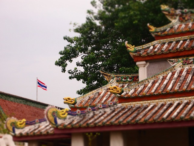 Roof temple dragons, religion.