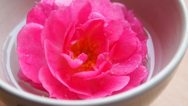 Rose water drops.
