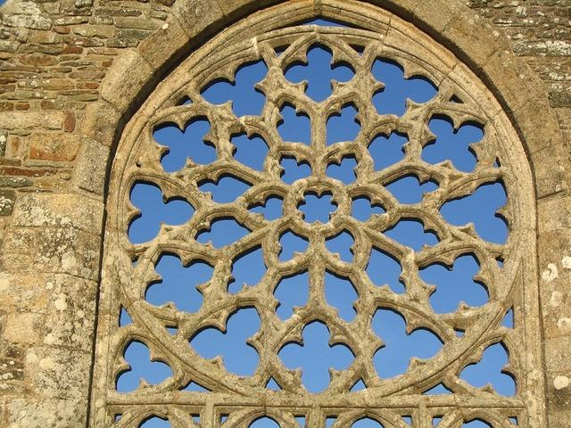 Rose window languidou chapel france, architecture buildings.