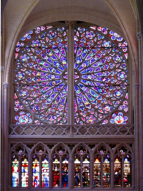 Rose window st gatien cathedral gothic, architecture buildings.
