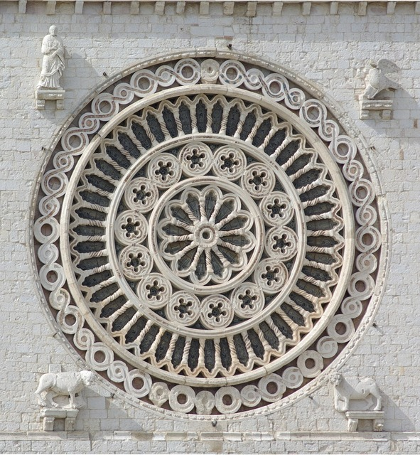 Rosette rose window basilica of san francesco, religion.