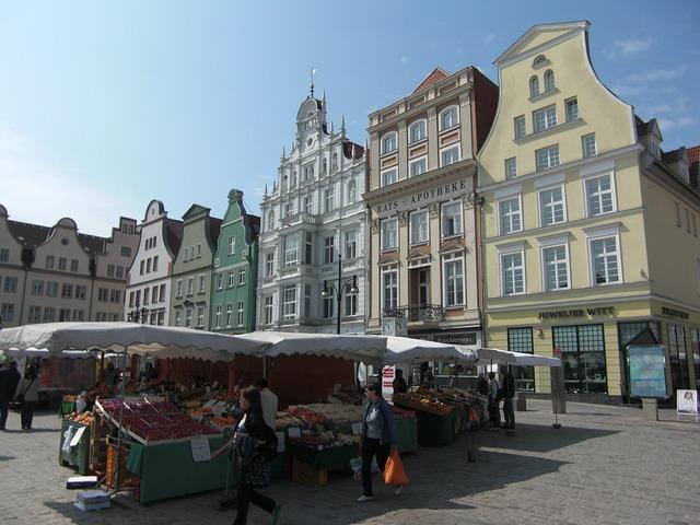Rostock age marketplace hanseatic league, architecture buildings.