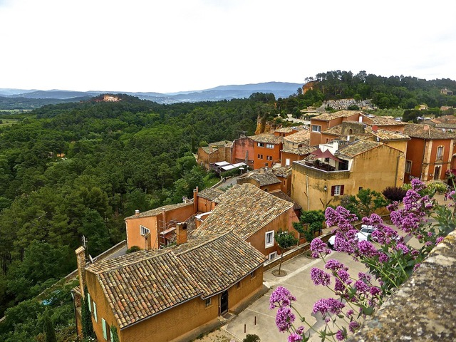 Roussillon village red, travel vacation.