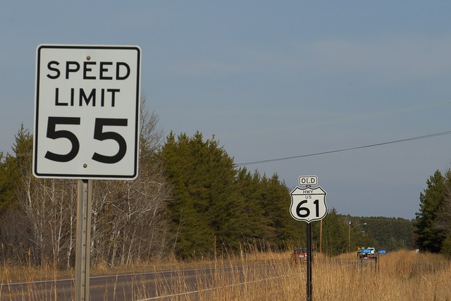 Route 61 speed limit 55, transportation traffic.