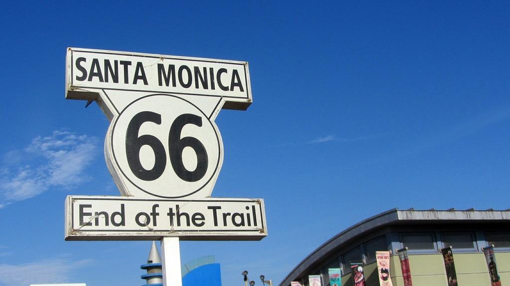 Route 66 santa monica united states, transportation traffic.