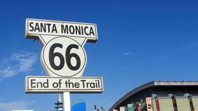 Route 66 santa monica united states, transportation traffic.