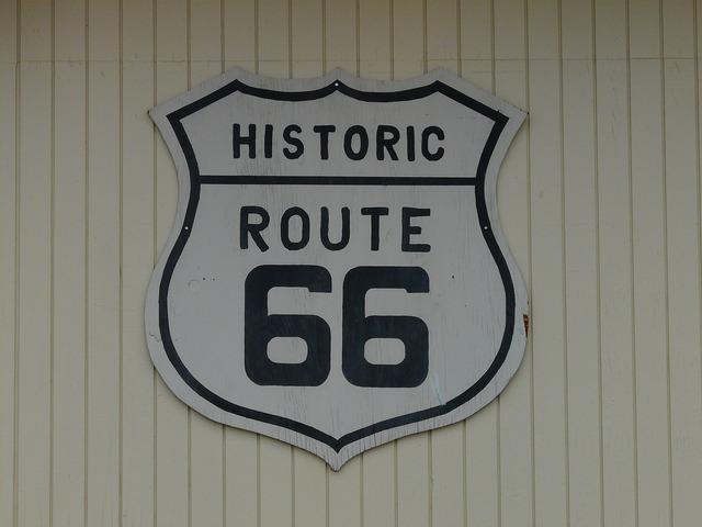 Route 66 shield plaque, transportation traffic.