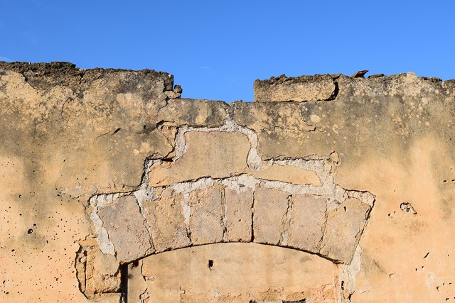 Ruin archway wall, architecture buildings.