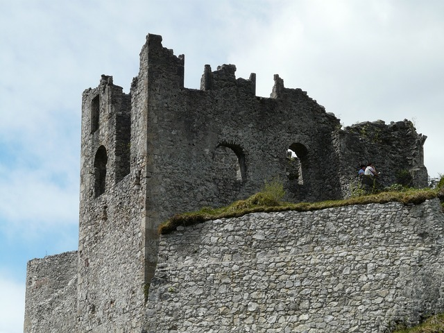 Ruin castle battlements, architecture buildings.