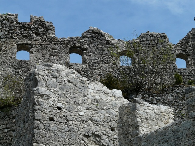 Ruin castle window, architecture buildings.