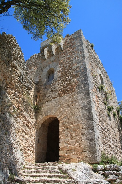 Ruin fortress castle, architecture buildings.