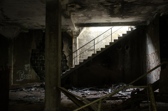 Ruin stairs leave, architecture buildings.