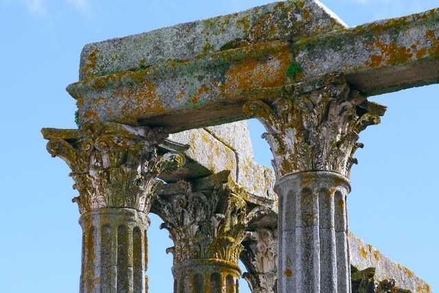 Ruin stone roman, architecture buildings.
