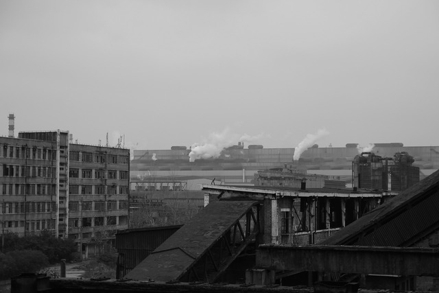 Ruins factory building, architecture buildings.