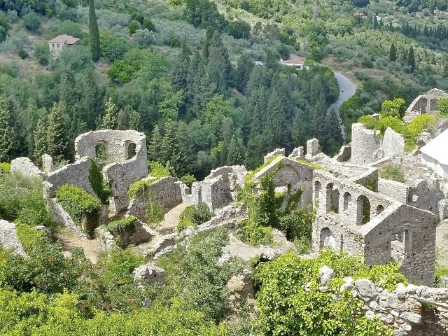 Ruins mystras monastery, nature landscapes.