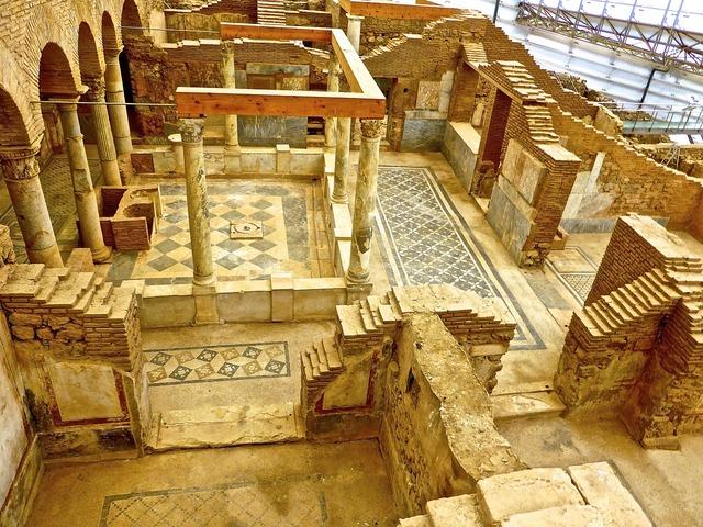 Ruins roman excavation, architecture buildings.