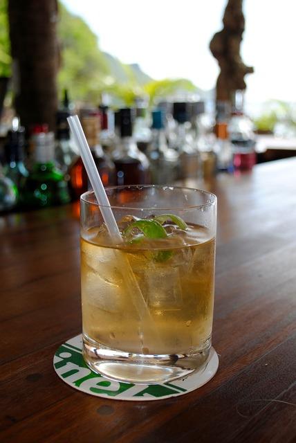 Rum cocktail bar, food drink.